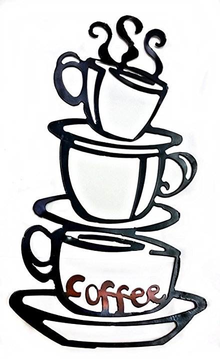 440x717 Coffee House Cup Java Silhouette Wall Art Metal Mug