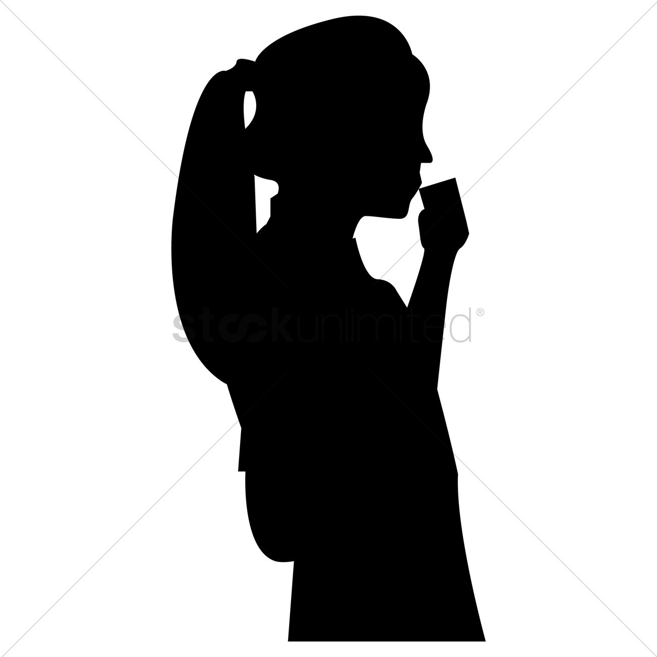 1300x1300 Silhouette Of Woman Drinking Coffee Vector Image