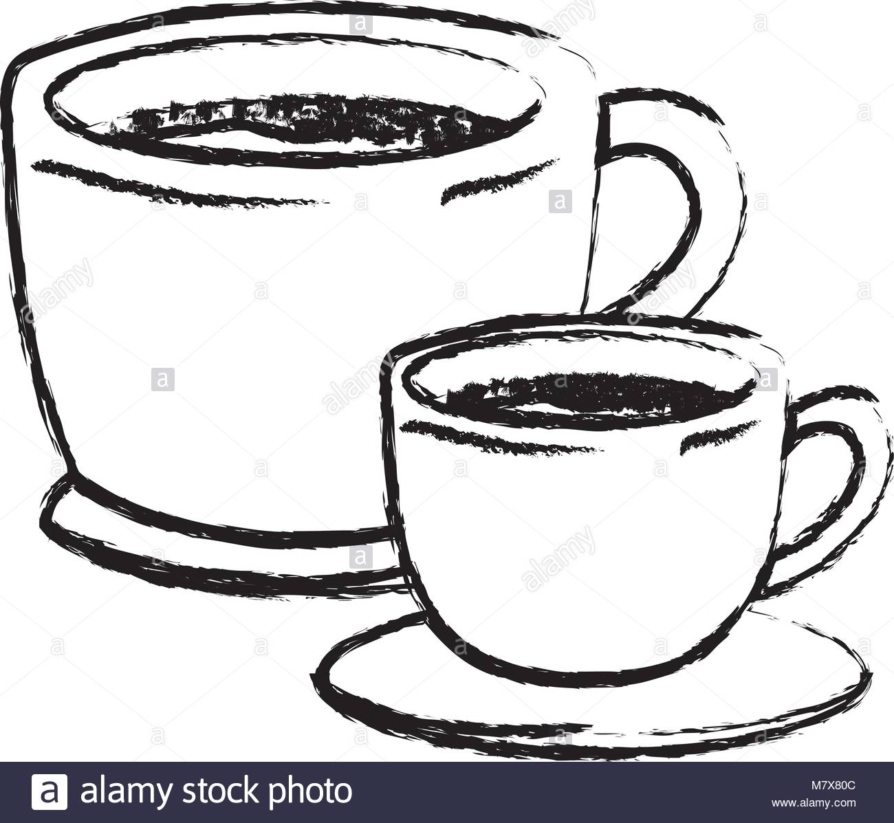1300x1197 Set Big And Small Cup Of Coffee With Handle Monochrome Blurred