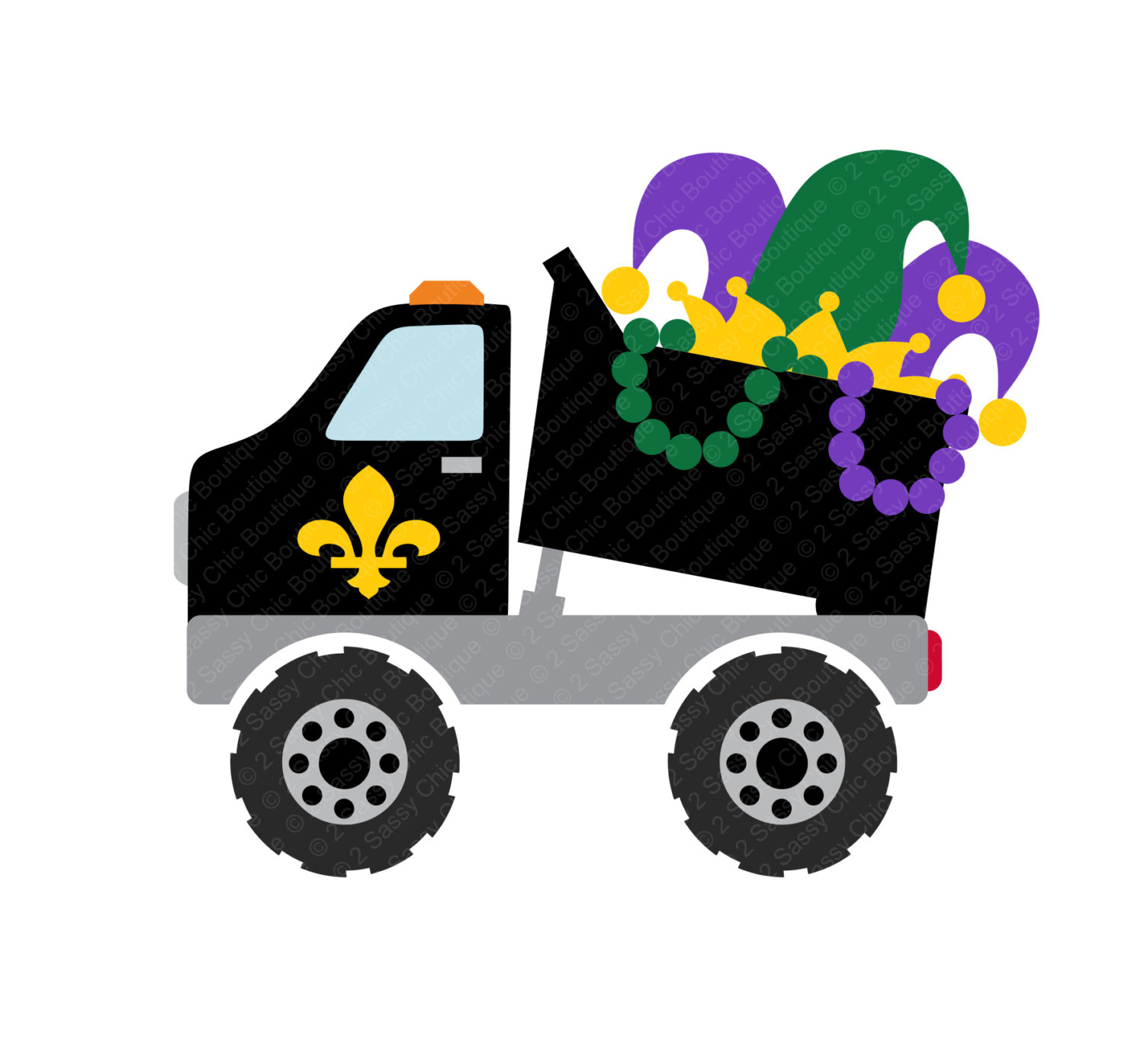 1500x1395 Mardi Gras Dump Truck With Coins Svg Eps Ai Dfx Formats For Heat