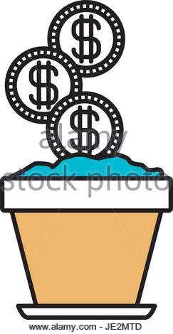 243x470 A Flower Pot And Coins Stock Photo 38008030