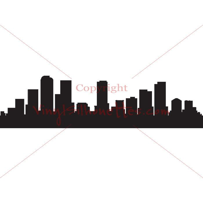 700x700 Denver Colorado Skyline Silhouette, Cityscape Wall Sticker, Vinyl