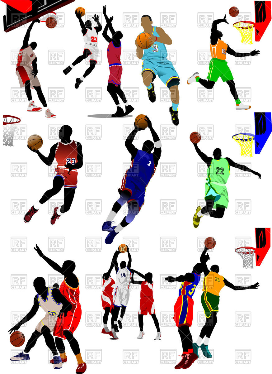 874x1200 Colored Silhouette Of Basketball Players In Motion Royalty Free
