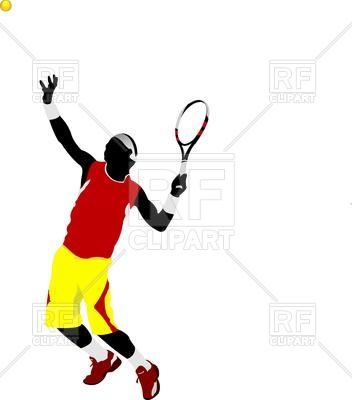 352x400 Colored Silhouette Of Tennis Player Royalty Free Vector Clip Art