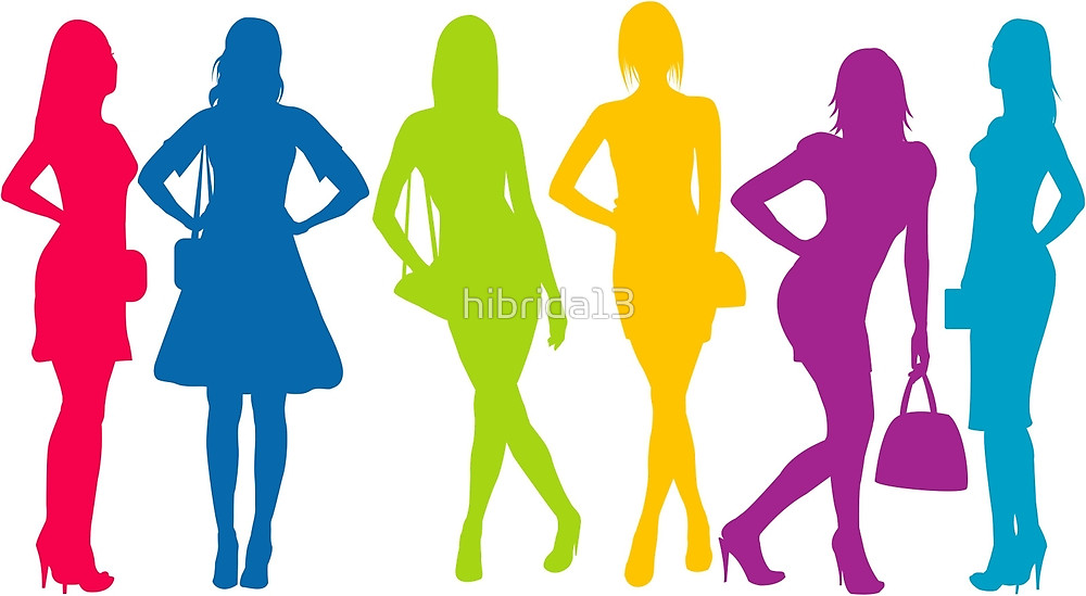 1000x549 Group Of Colored Women Silhouettes By Hibrida13 Redbubble