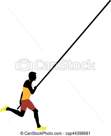 382x470 Pole Vault Male Athlete Colored Silhouette Vector