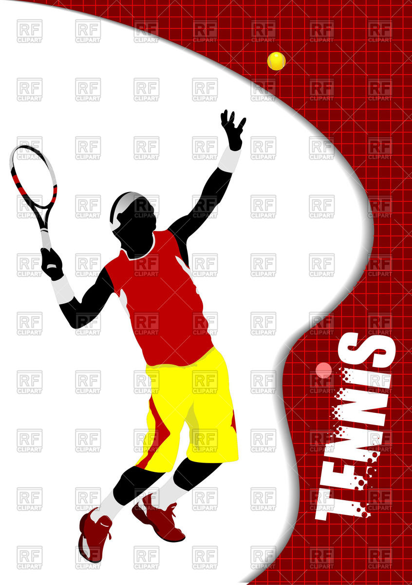 846x1200 Poster With Colored Silhouette Of Tennis Player Royalty Free