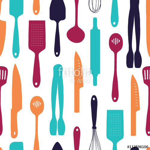 500x500 Seamless Background With A Pattern Of Silhouette Cutlery. Vertical