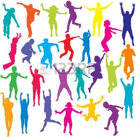 450x450 Set Of Colored People And Children Silhouettes Jumping Photo