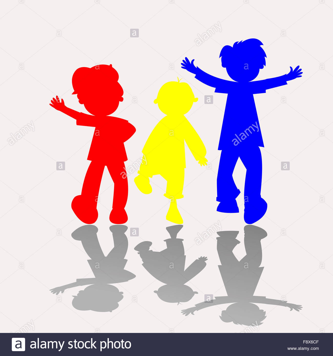 1300x1390 Colored Kids Silhouettes Stock Photo 91544895