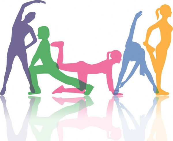 600x489 Active Human Background Excercise Gestures Colorful Silhouette