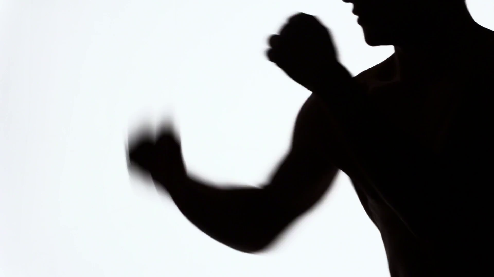 1920x1080 A Fighter Without Rules Trains Punches. Silhouette Of An Athlete
