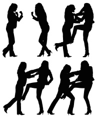 194x235 Silhouette Of Two Women Fighting For A Shopping Caddy Stock Photos