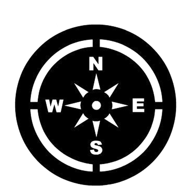 640x640 15cm15cm Nswe Cartoon Compass Silhouette Vinyl Car Sticker Decal