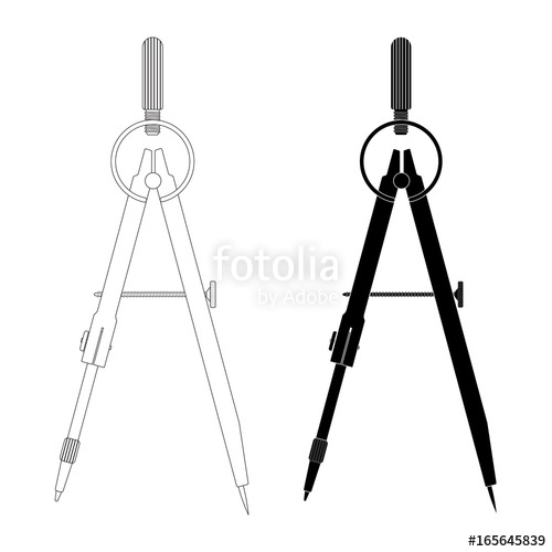 500x500 Compass. Technical Drawing Tool. Outline And Black Silhouette