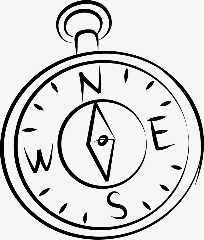 650x767 Hand Drawn Compass, Black, Silhouette, Colour Png Image