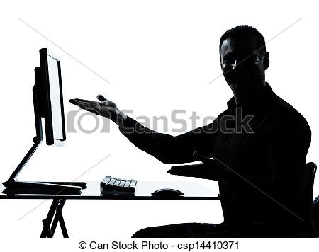 450x356 One Business Man Silhouette Computer Computing Showing Picture