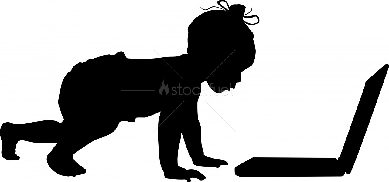 1281x600 Baby Computer Silhouette Stock Photo Stockfuel