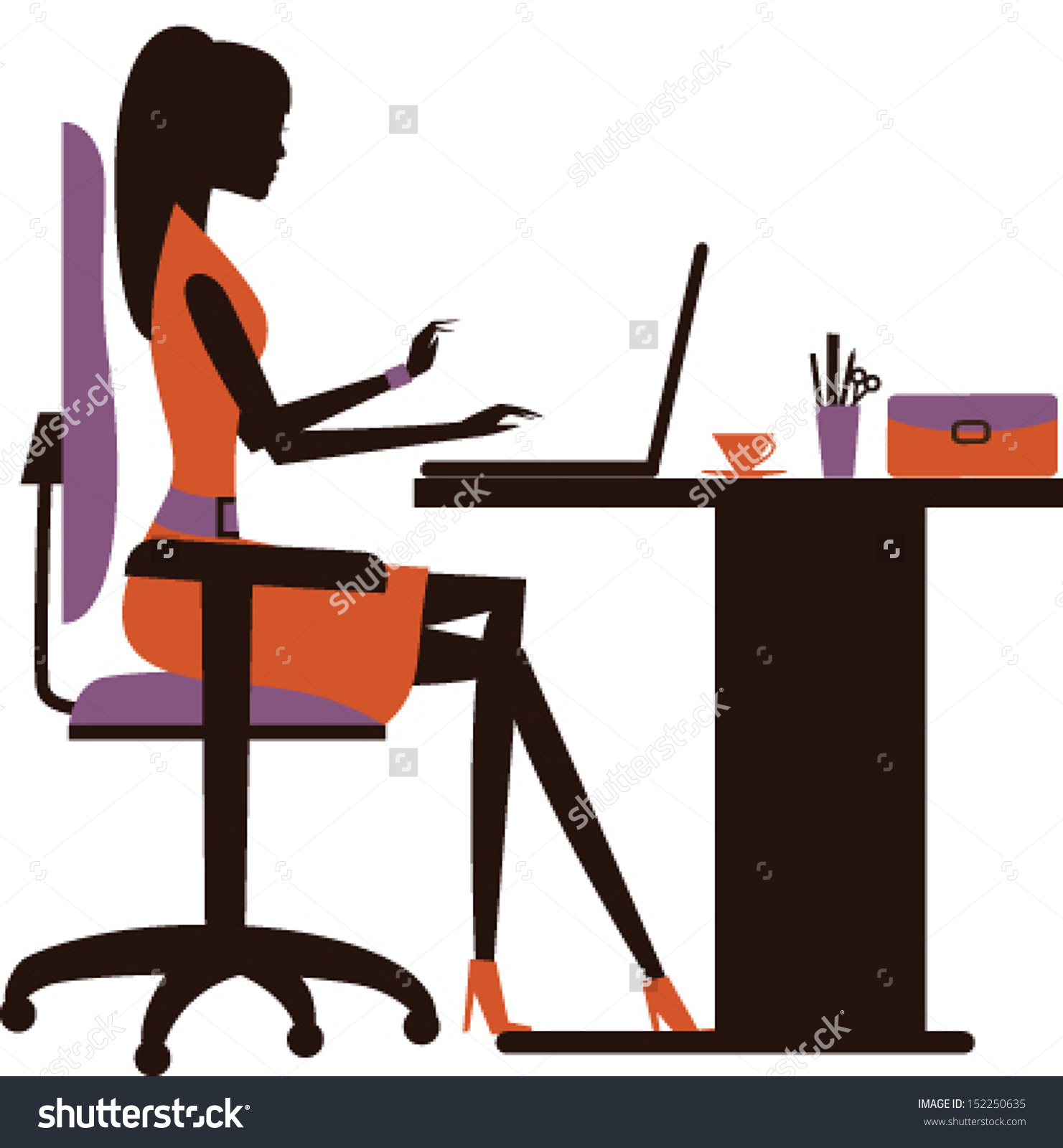 1481x1600 Business Woman With Computer Clipart Silhouette