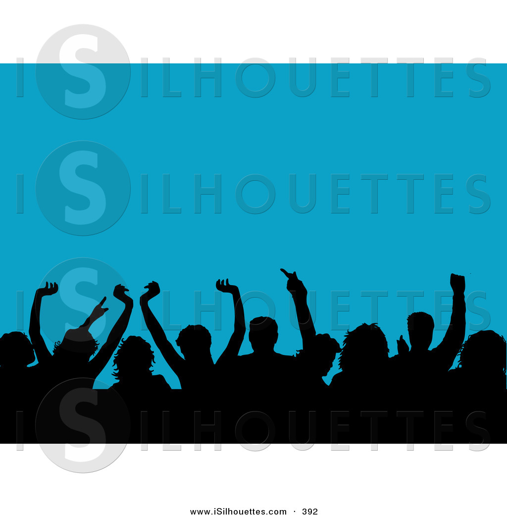 1024x1044 Silhouette Clipart Of A Happy Silhouetted Crowd Waving Their Hands