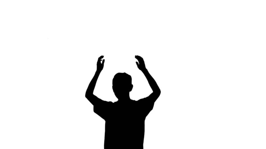 852x480 Silhouette Of Young Man Clapping With Hands In The Air. Event