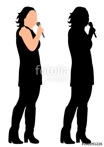 354x500 Silhouette Of A Girl Singing, Microphone, Vector, Concert Stock
