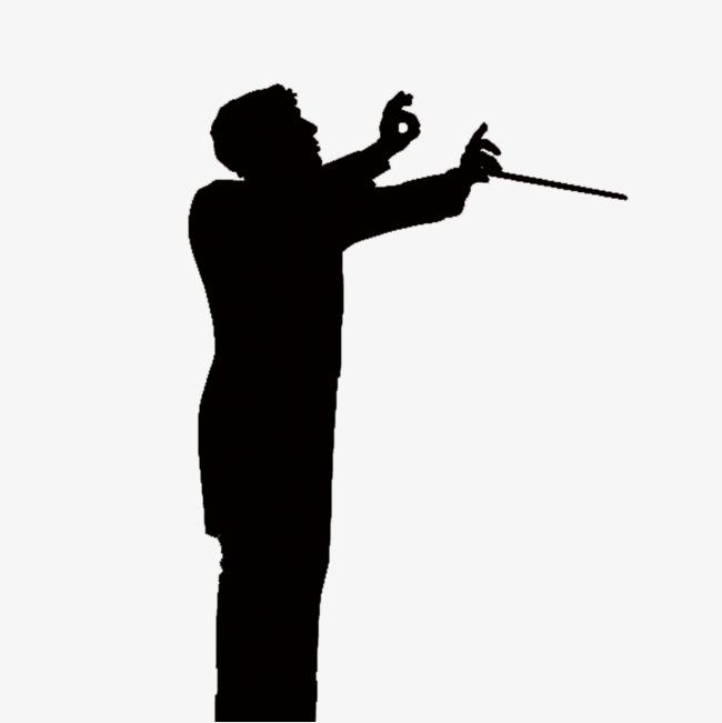 650x651 Symphony Commander Silhouette, Baton, Raising His Hand, Concert