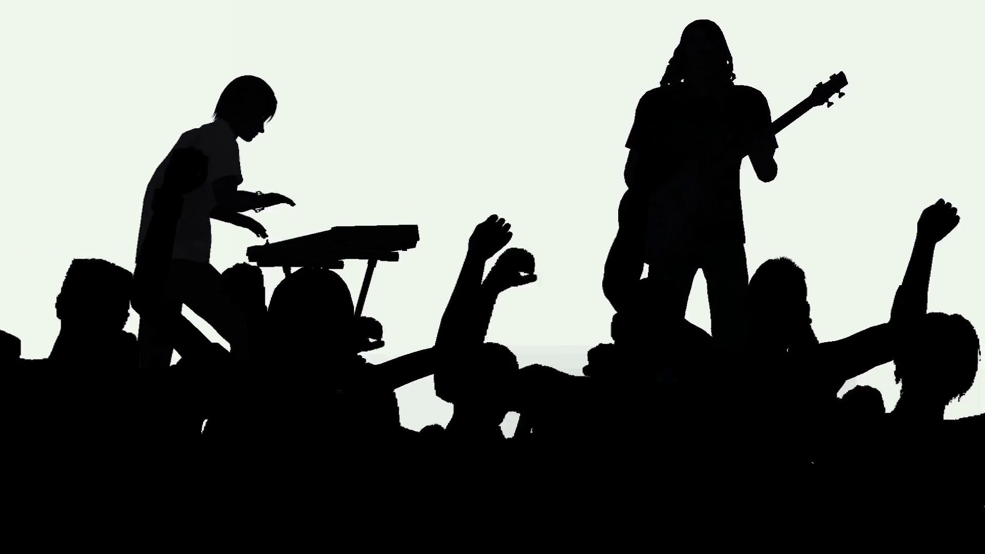 1920x1080 Two Musicians Playing To Cheering Crowd In Silhouette Motion
