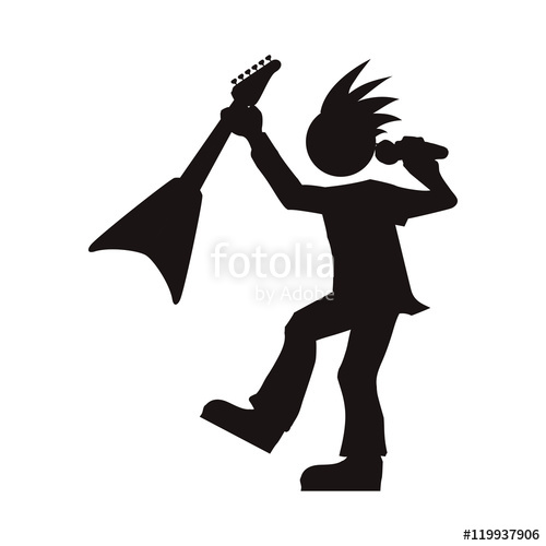 500x500 Man Musician Microphone Guitar Rock Music Concert Silhouette Icon