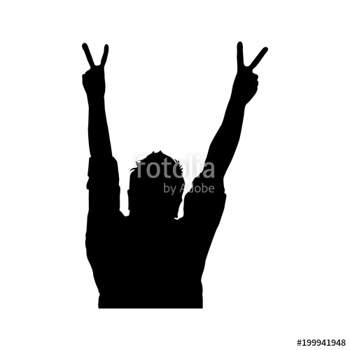 500x500 Silhouette Of Person In Concert Vector Illustration Design Stock