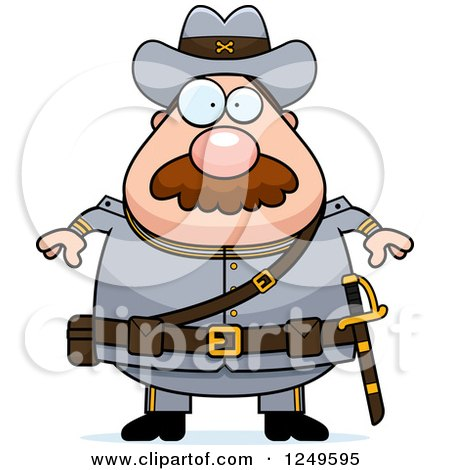 450x470 Clipart Of A Happy Chubby Civil War Confederate Soldier Man