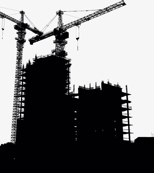 500x563 Building And Crane Silhouettes, Crane, Excavator, Building