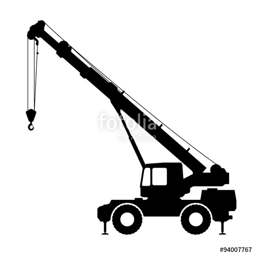 500x500 Crane Silhouette On A White Background. Stock Image And Royalty