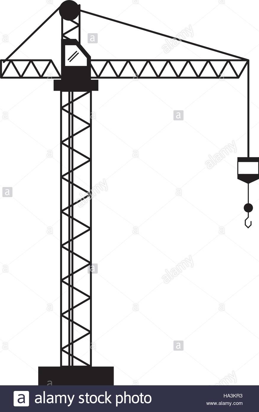 875x1390 Crane Hook Construction Machine Pictogram Stock Vector Art