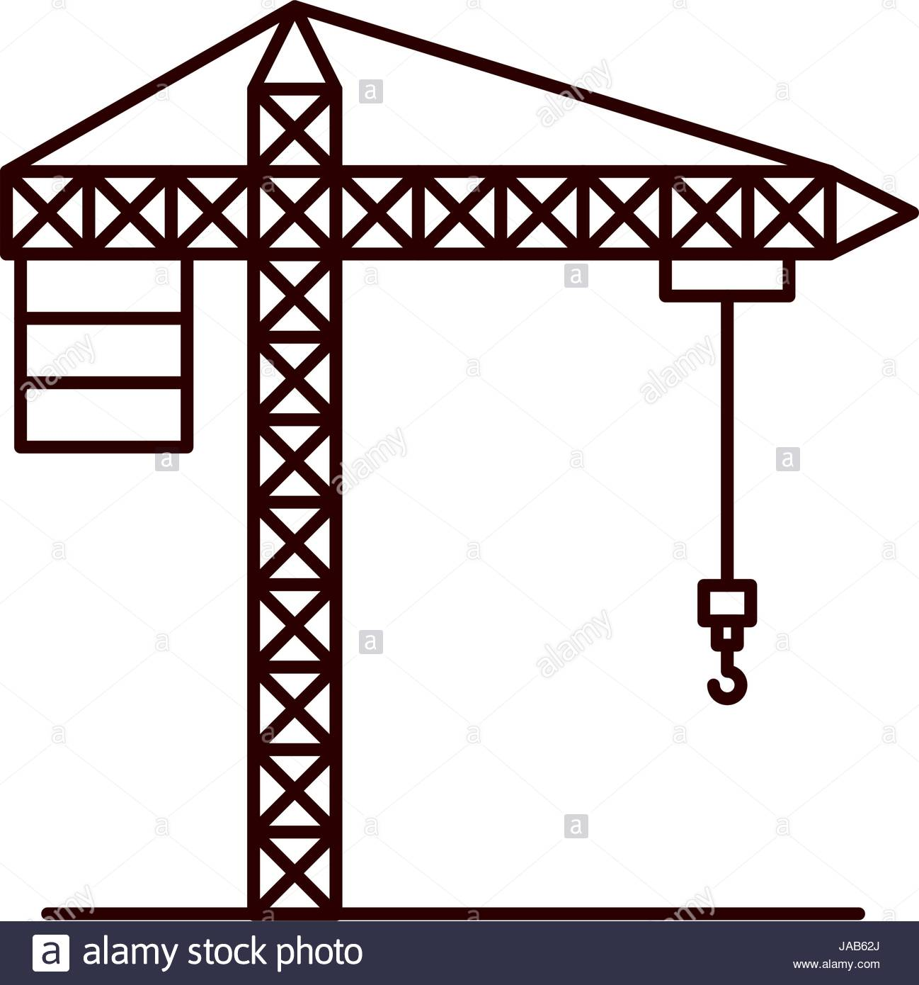 1298x1390 Sketch Silhouette Crane Machinery For Construction Stock Vector