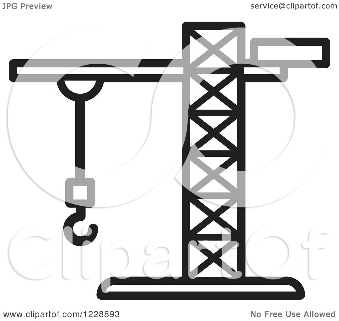 1080x1024 Clipart Of A Black And White Construction Crane Icon