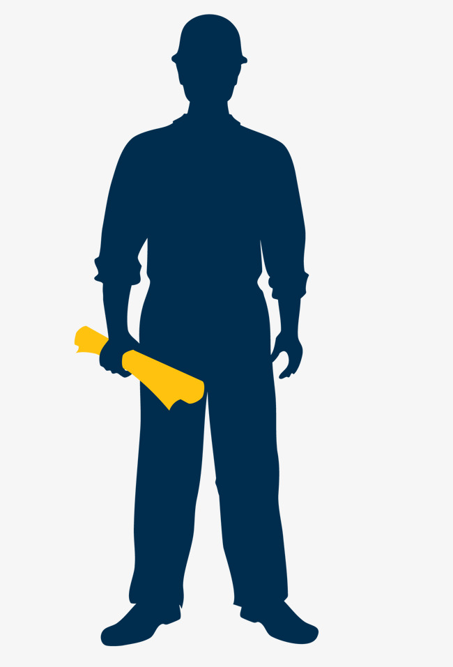 650x957 Blue Decoration Construction Worker Silhouette, Renovation Worker