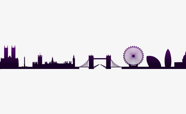 650x400 Purple Bridge Construction Silhouette, Purple Building Silhouette