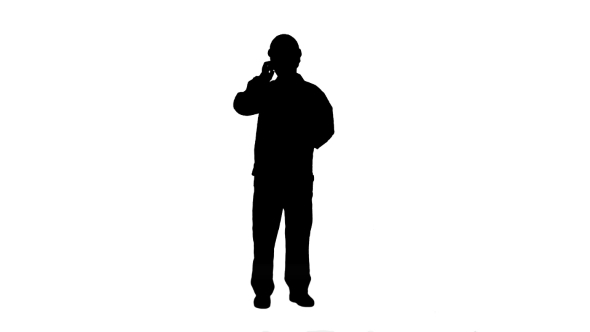 590x332 Silhouette Construction Worker Talk With Cell Telephone Track