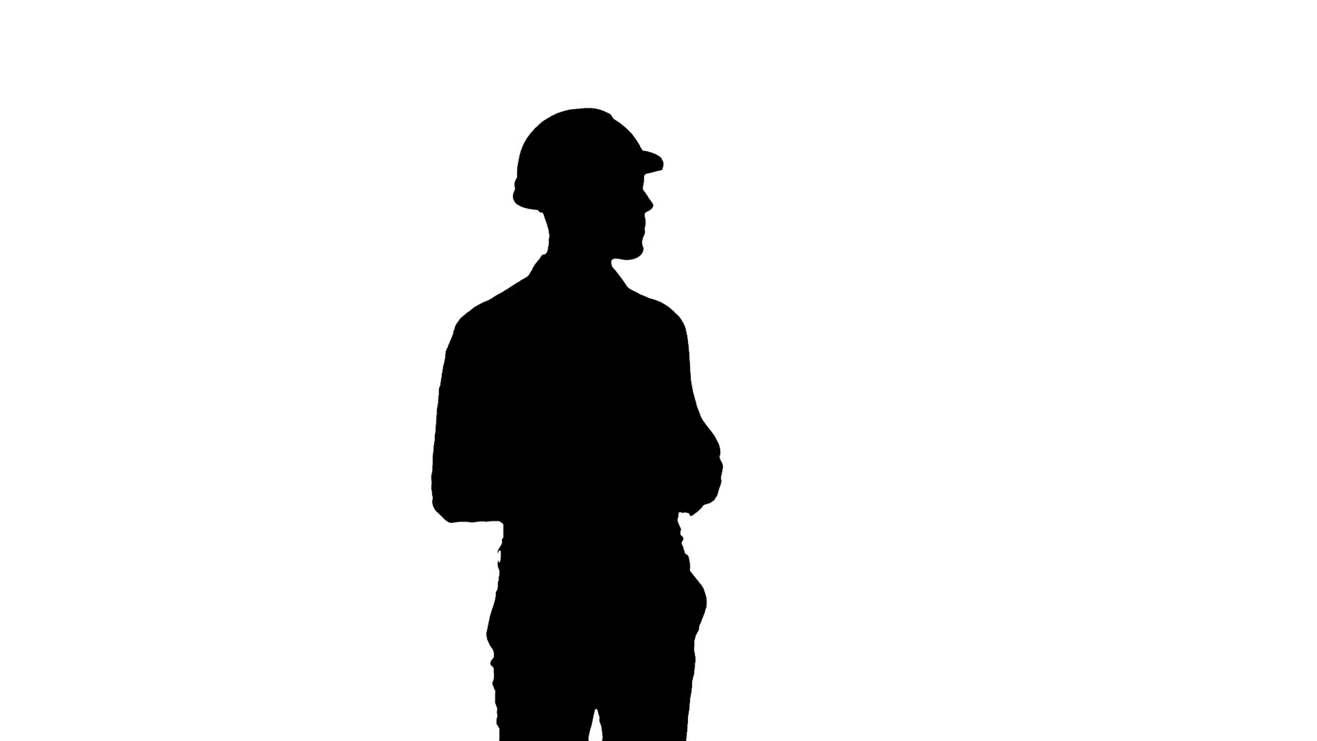 1920x1080 Silhouette Construction Worker Using Phone To Take Selfies Stock