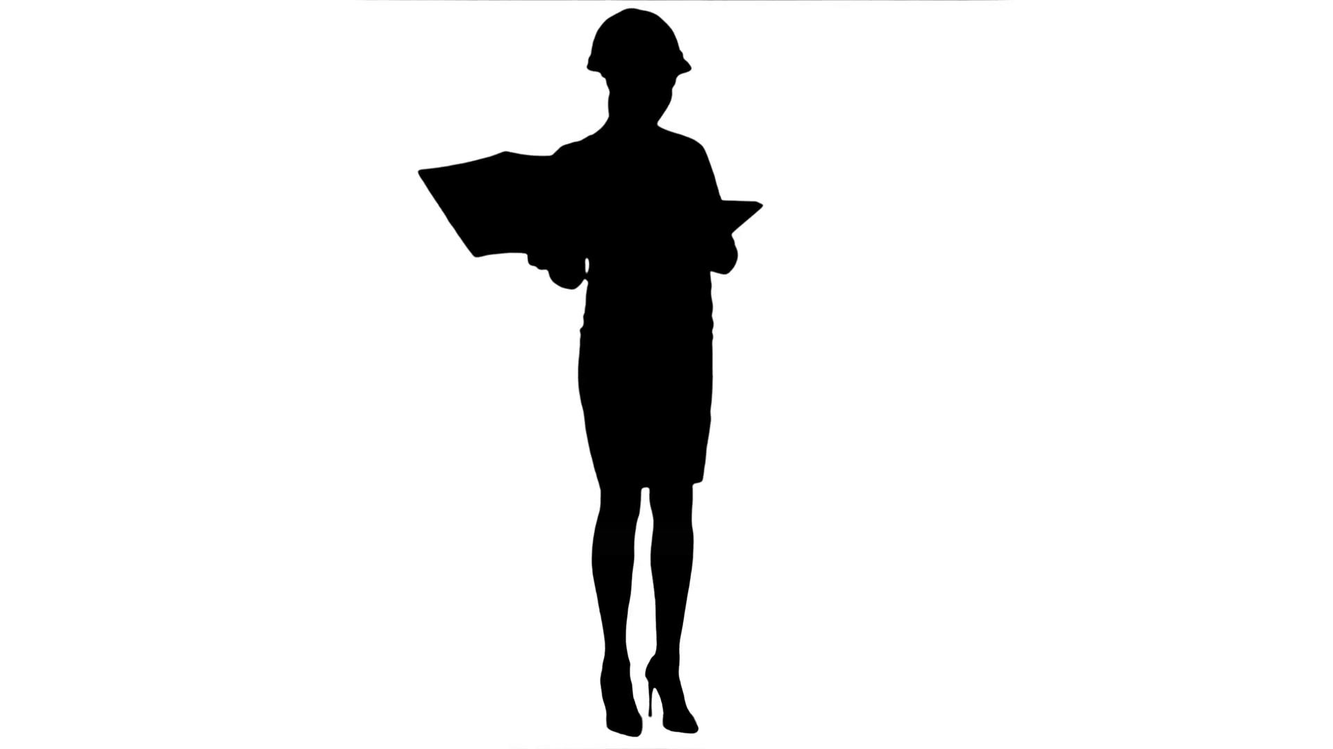 1920x1080 Silhouette Female Construction Engineer In Helmet Holding