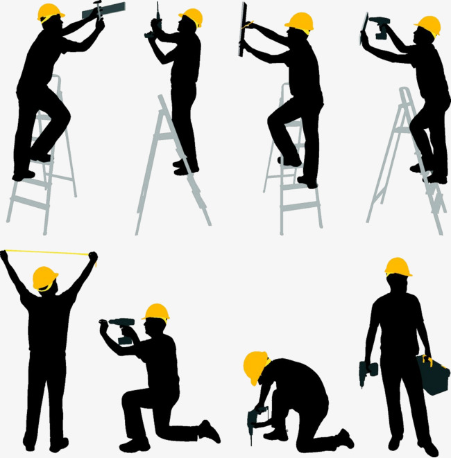 650x661 Construction Silhouette, Decoration, Worker, Ladder Png Image