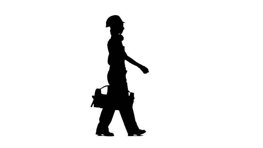 852x480 Designer Of The Construction Site Carries A Drawing. Silhouette
