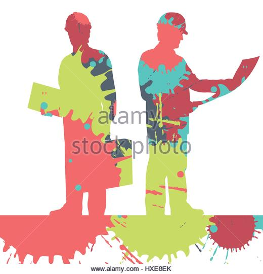 520x540 Engineer Detailed Construction Site Silhouettes Stock Photos