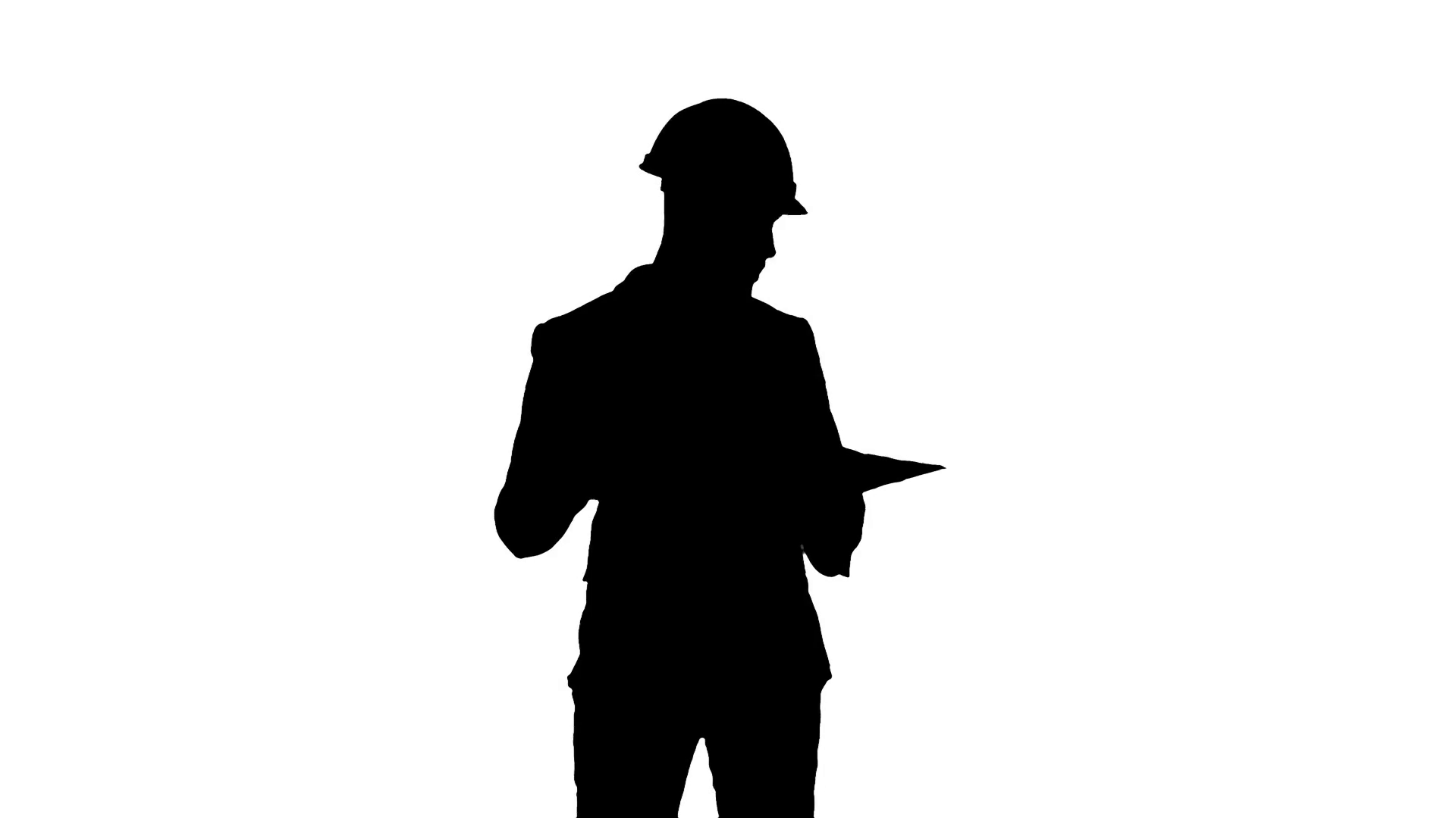 1920x1080 Silhouette Architect In Helmet Checking Construction Plan Stock