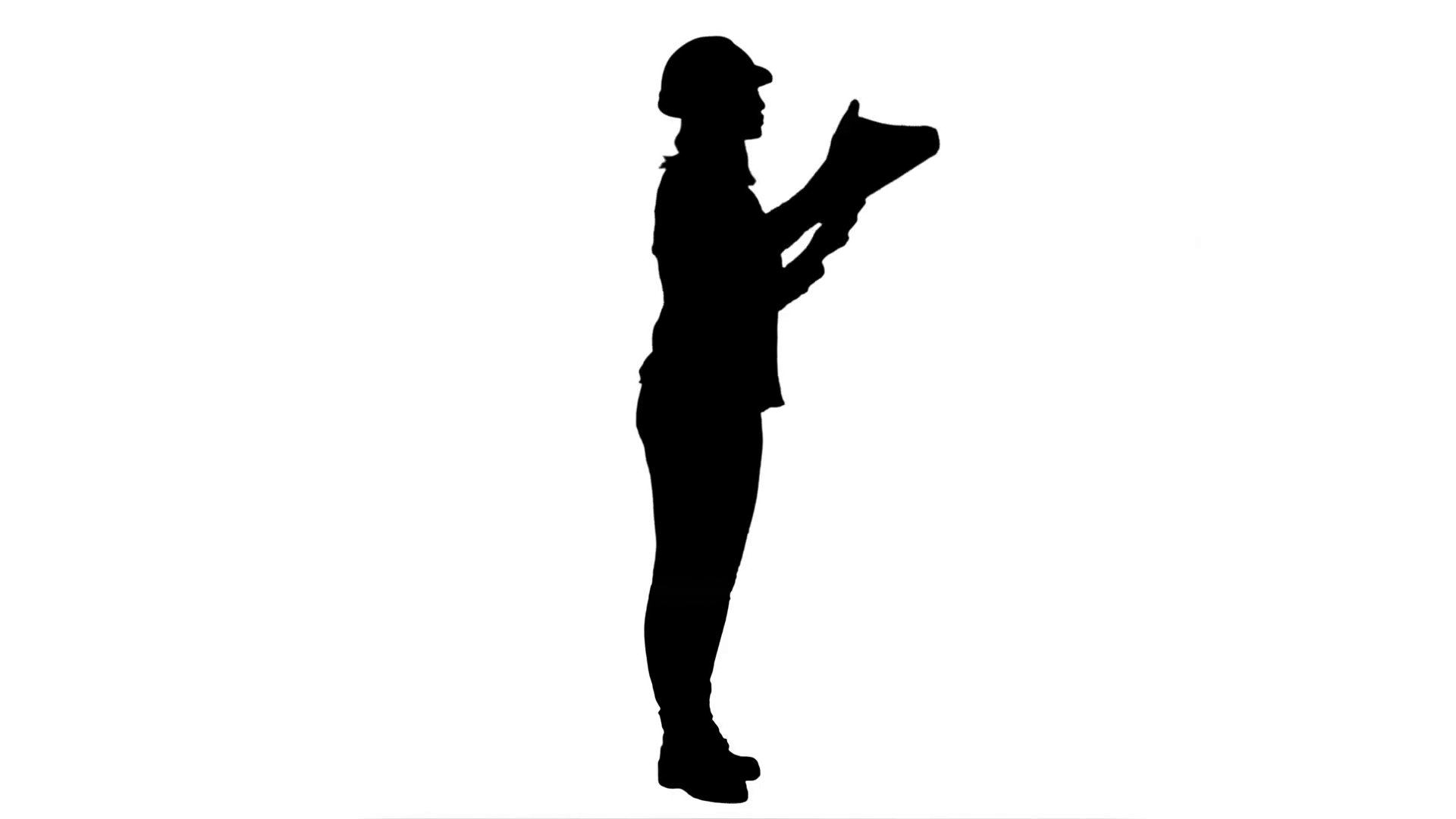1920x1080 Silhouette Female Engineer Inspects Construction Site And Talking
