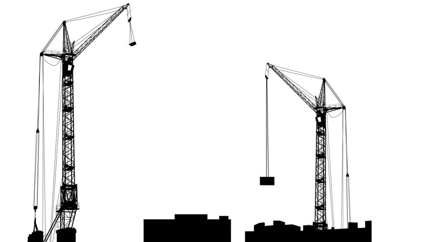 852x480 Silhouette Of Two Cranes Working On The Building. White Screen