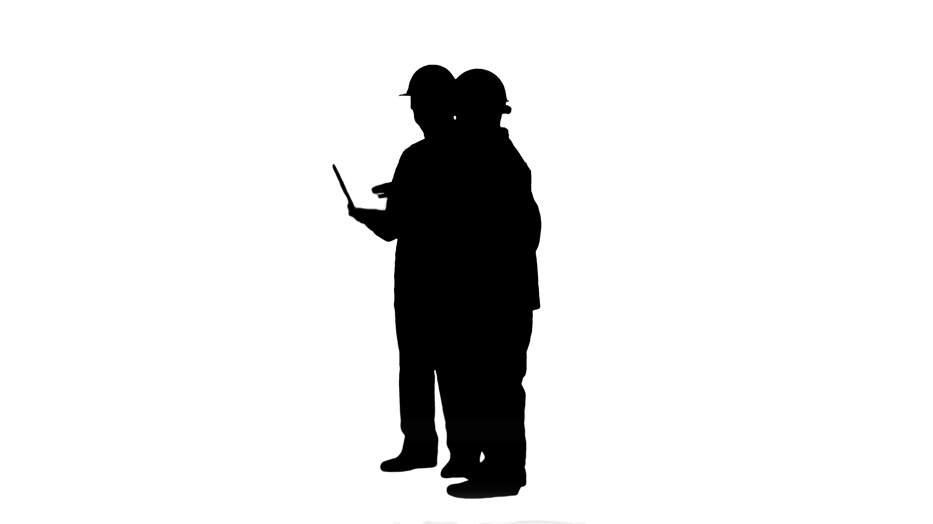 3840x2160 Silhouette Supervisors Using Laptop