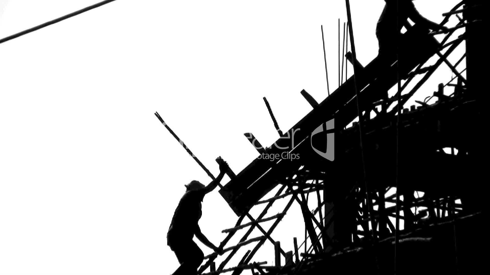 1920x1080 Construction Site Workers Silhouette Royalty Free Video