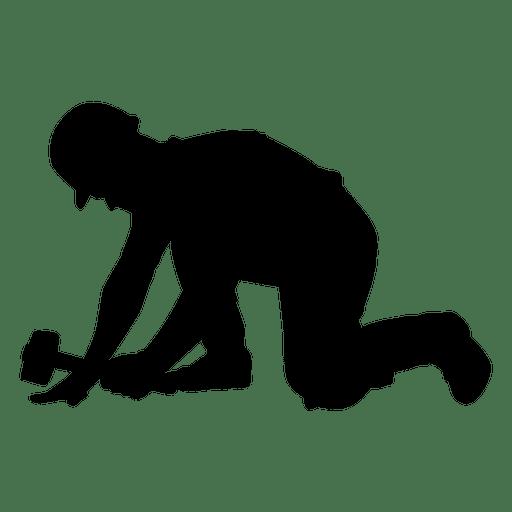 512x512 Construction Worker Hammer Kneeling Silhouette